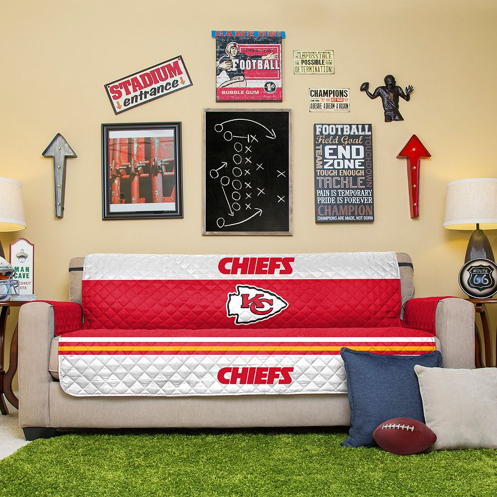 Brilliant Kansas City Chiefs Quilted Sofa Cover Bralicious Painted Fabric Chair Ideas Braliciousco