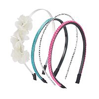 Girls 4-16 4 pkFlower & Glitter Headbands