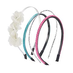 Girls 4-16 4-pk. Flower & Glitter Headbands