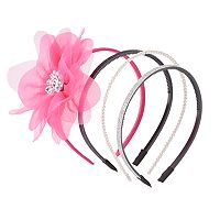 Girls 4-16 4-pk. Floral & Glitter Headbands