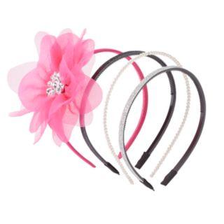 Girls 4-16 4-pk. Floral & Glitter Headbands