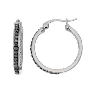 Chrystina Silver Plated Black & White Crystal Inside Out Hoop Earrings