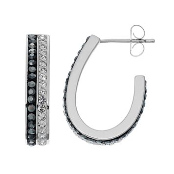 Chrystina Silver Plated Black & White Crystal J Hoop Earrings