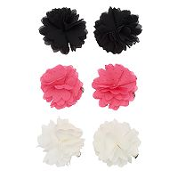 Girls 4-16 6 pkGlitter Flower Hair Clips