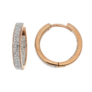 Chrystina 14k Gold Plated Crystal Inside Out Hoop Earrings