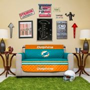 Miami Dolphins Quilted Loveseat Cover
