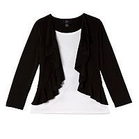 Girls 7-16 IZ Amy Byer Ruffle Mock-Layer Cardigan & Tee