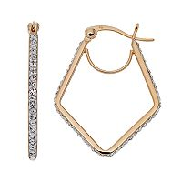 Chrystina 14k Gold Plated Crystal Geometric Hoop Earrings