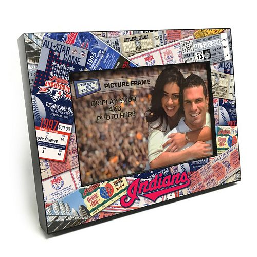 """Cleveland Indians Ticket Collage 4"""" x 6"""" Wooden Frame"""