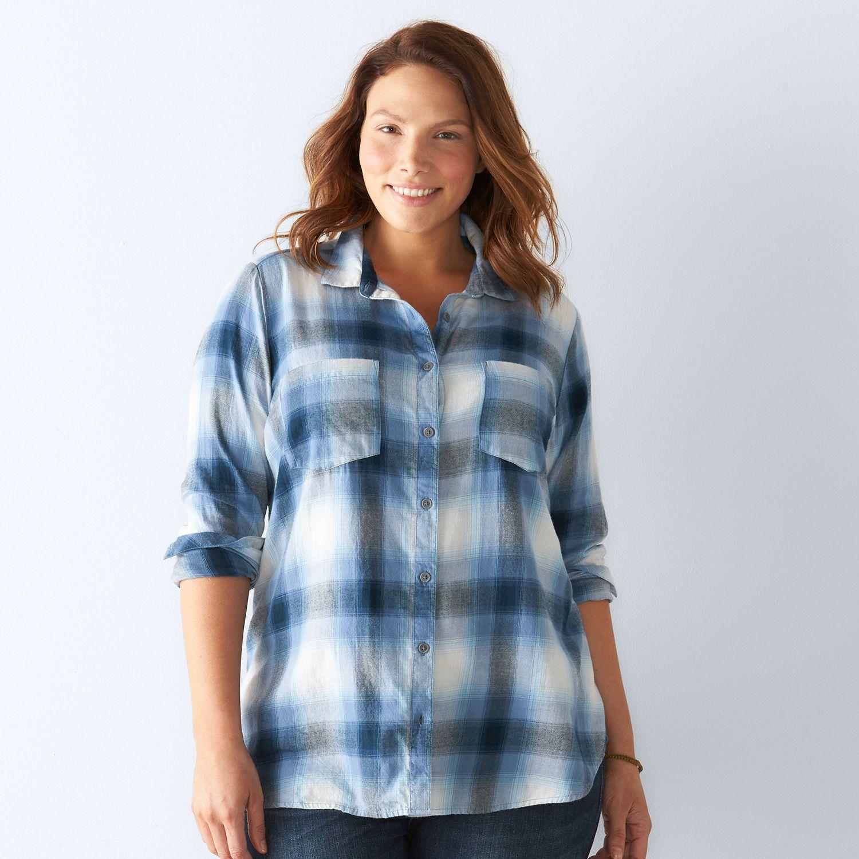 Plus Size SONOMA Goods for Life? Plaid Flannel Shirt