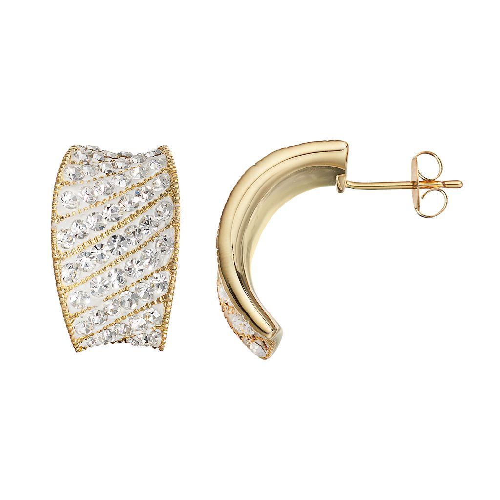 Chrystina 14k Gold-Plated Crystal Striped C-Hoop Earrings