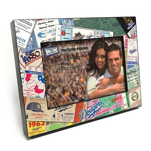 """Los Angeles Dodgers Ticket Collage 4"""" x 6"""" Wooden Frame"""