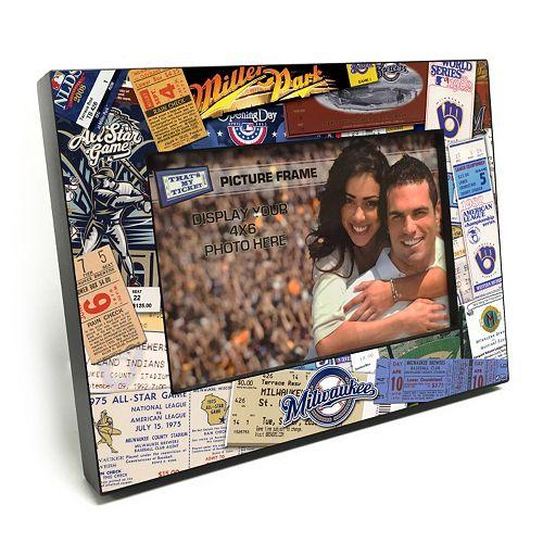"Milwaukee Brewers Ticket Collage 4"" x 6"" Wooden Frame"