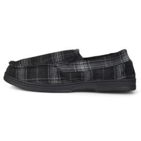 Perry Ellis Men's Plaid Moccasin Slippers