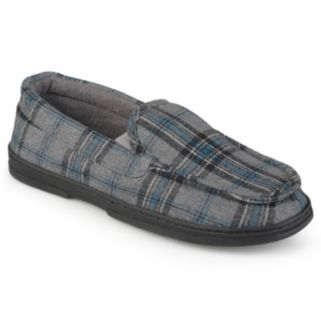 Perry Ellis Men's Plaid Moccasin Slippers