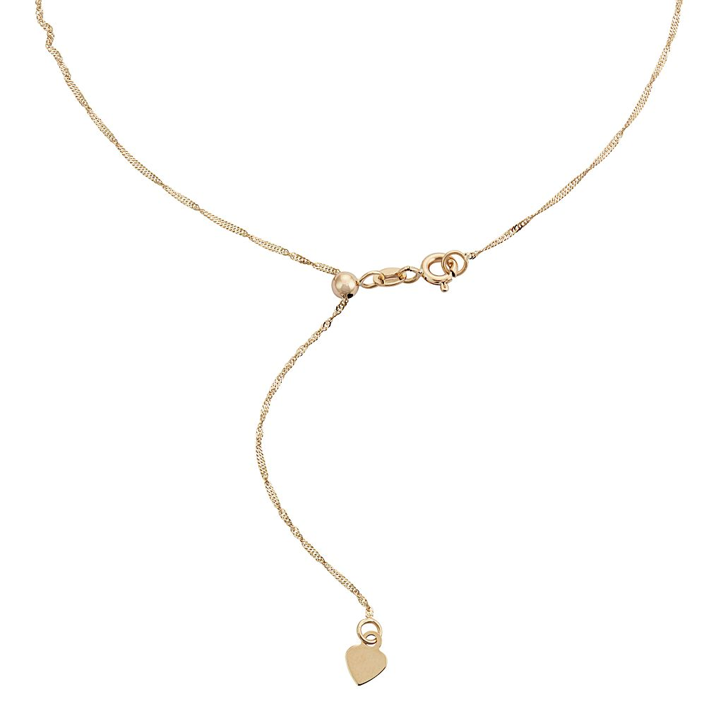 10k Gold Adjustable Singapore Chain Necklace