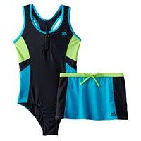 Girls 7-16 ZeroXposur One-Piece Racerback Swimsuit & Skirt Set