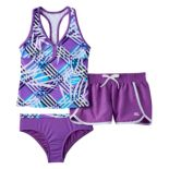 Girls 7-16 ZeroXposur Mesh Racerback Tankini Top, Bottoms & Dolphin Shorts Swimsuit Set
