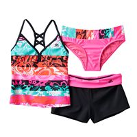 Girls 7-16 ZeroXposur 3-pc. Pinata Tankini Swimsuit Set