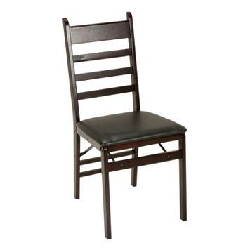 Cosco Espresso Wood Ladder Back Folding Chair 2-piece Set