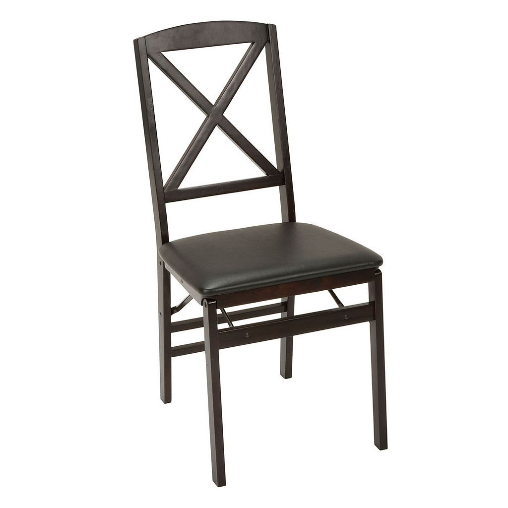 Cosco Espresso Wood X-Back Folding Chair 2-piece Set