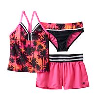 Girls 7-16 ZeroXposur 3-pc. Sundown Sport Tankini Swimsuit Set