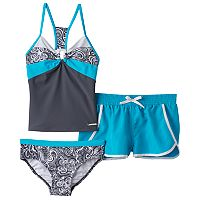 Girls 7-16 ZeroXposur Paisley Swirls Tankini Top, Bottoms & Shorts Swimsuit Set
