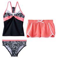 Girls 7-16 ZeroXposur Paisley Swirls Tankini Top, Bottoms & Shorts Swimsuit Set