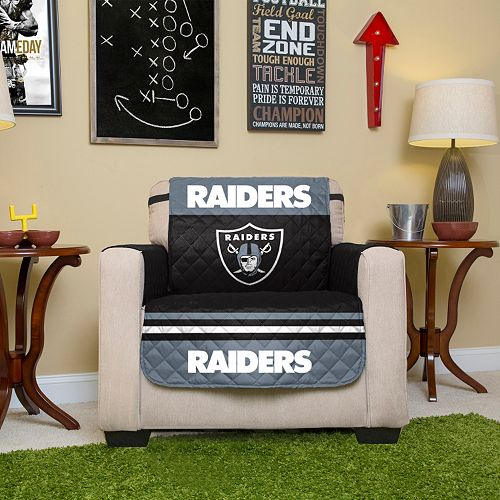 Astounding Oakland Raiders Quilted Chair Cover Machost Co Dining Chair Design Ideas Machostcouk