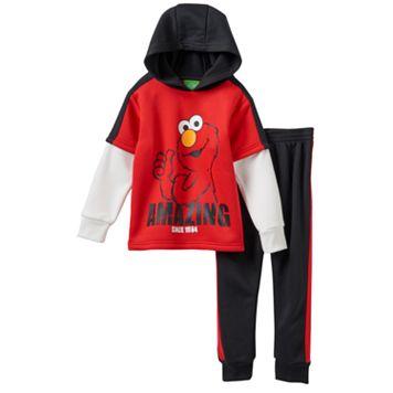 Baby Boy Elmo Mock-Layered Fleece-Lined Hoodie & Pants Set