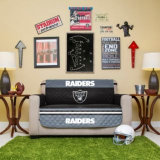 Oakland Raiders Quilted Loveseat Cover