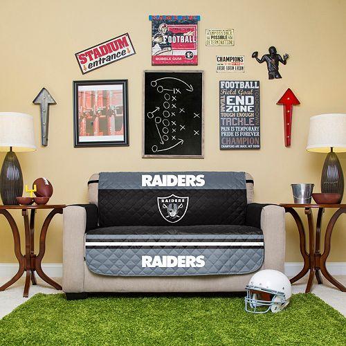 Fine Oakland Raiders Quilted Loveseat Cover Machost Co Dining Chair Design Ideas Machostcouk