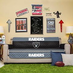 Oakland Raiders Quilted Sofa Cover