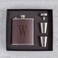 Cathy's Concepts 5 pc Brown Leather Monogram Flask Set