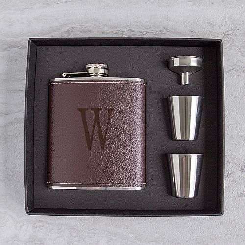 Cathy's Concepts 5-pc. Brown Leather Monogram Flask Set