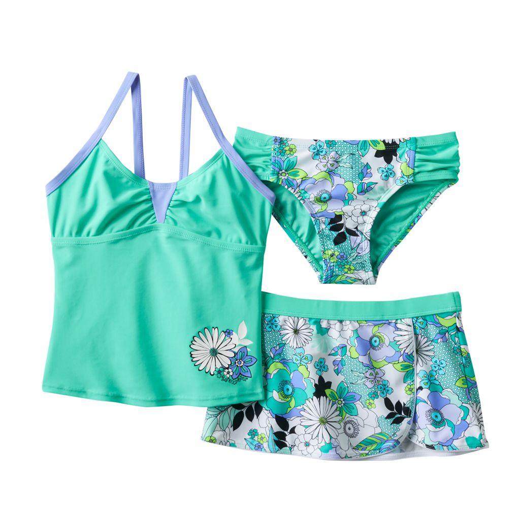 Girls 7-16 ZeroXposur 3-pc. Ring-A-Rosie Daisy Tankini Swimsuit Set
