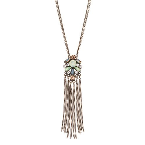 LC Lauren Conrad Long Fringe Cluster Necklace