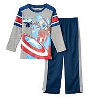 Toddler Boy Marvel Captain America Knit Tee & Pants Set