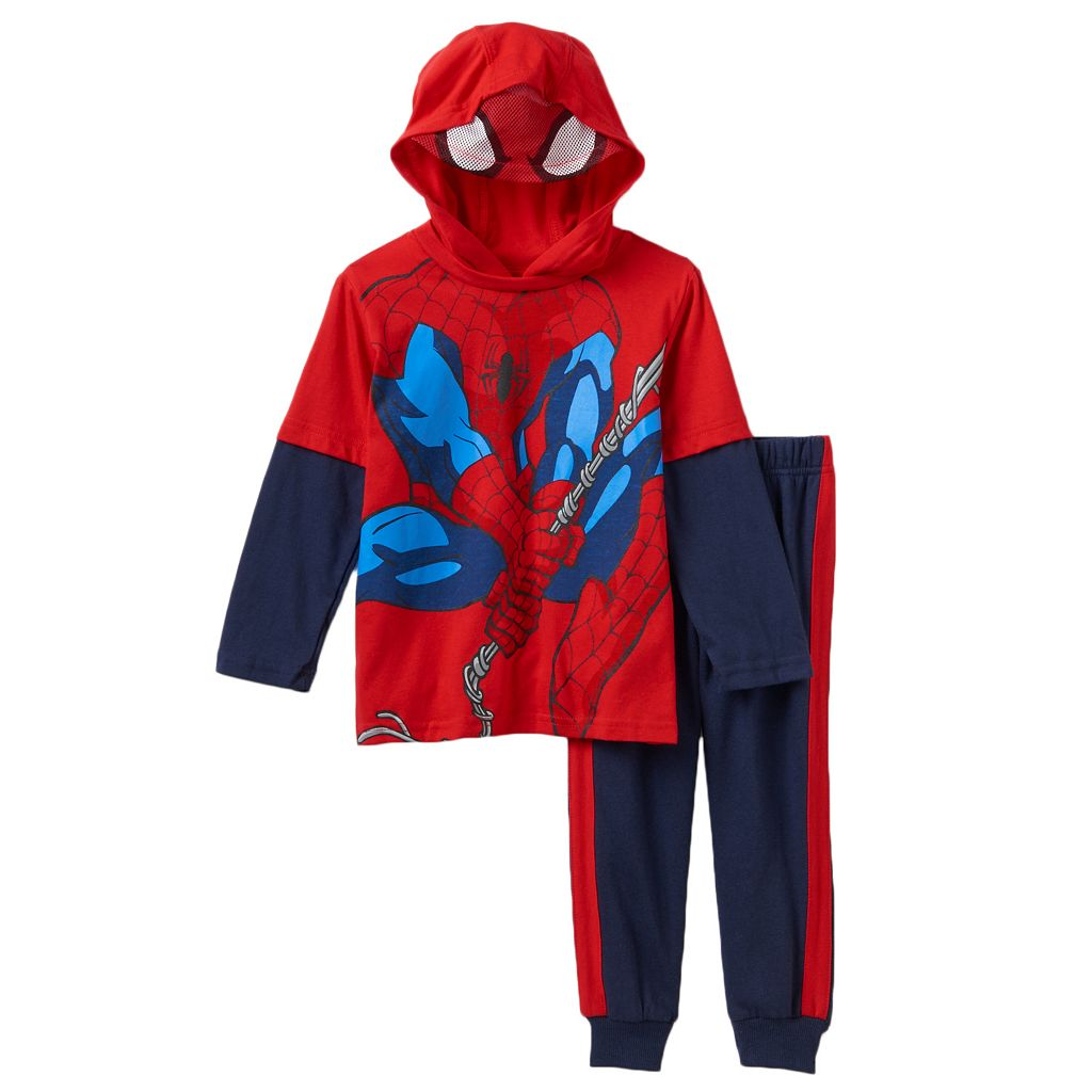 Toddler Boy Marvel Spider-Man Mock-Layered Hooded Tee & Fleece-Lined Jogger Pants Set