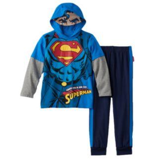 Toddler Boy DC Comics Superman Mask Hooded Mock-Layered Tee & Fleece-Lined Pants Set