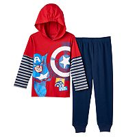 Toddler Boy Marvel Captain America Mock-Layered Long Sleeve Hooded Tee & Pants Set