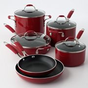 Cooking with Calphalon 10-pc. Red Enamel Cookware Set
