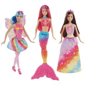 Barbie Dreamtopia Rainbow Cove Fairy, Princess & Mermaid Doll Set