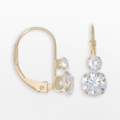 10k Gold Cubic Zirconia Drop Earrings
