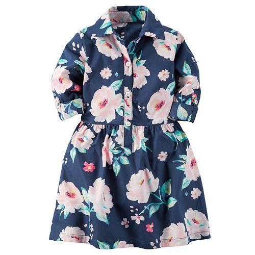 Girls 4-8 Carter's Woven Button-Front Floral Dress
