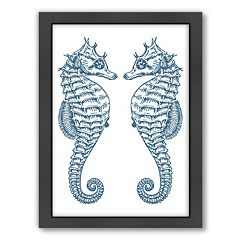 Americanflat Double Seahorse Ocean Framed Wall Art
