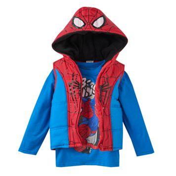 Toddler Boy Marvel Spider-Man Heavyweight Fleece-Lined Vest & Tee Set