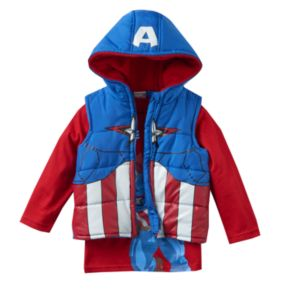 Toddler Boy Marvel Captain America Heavyweight Fleece-Lined Vest & Tee Set