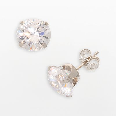 10k White Gold Cubic Zirconia Stud Earrings