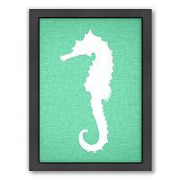 Americanflat Linen Seahorse Framed Wall Art